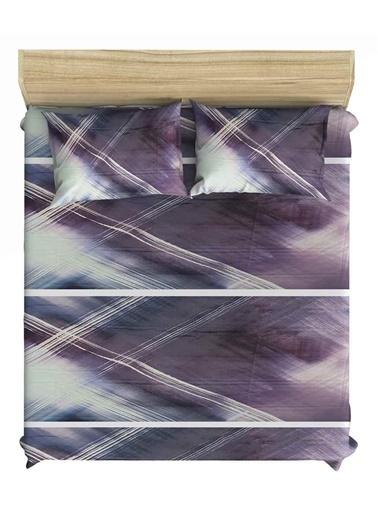 Maki Saten Purple Storm 100x200 Tek Kişilik Lastikli Çarşaf Takımı Mor